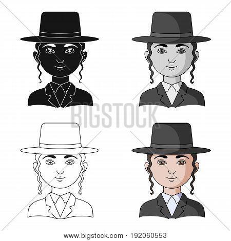 Jew.Human race single icon in cartoon style vector symbol stock illustration .