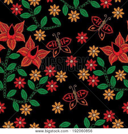 Seamless pattern with embroidery stitches imitation red flower and butterfly. Folk flower embroidery pattern for printing on fabric paper for scrapbook gift wrap.