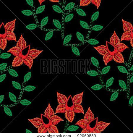 Seamless pattern with embroidery stitches imitation red flower. Folk flower embroidery pattern for printing on fabric paper for scrapbook gift wrap.