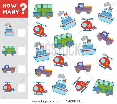 Counting Game For Children. Count How Many Transport Objects And Write The Result!