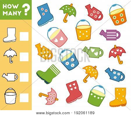 Counting Game for Preschool Children. Educational a mathematical game. Count how many items and write the result!