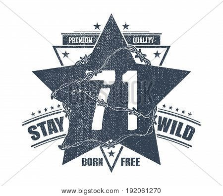 Abstract star t shirt print design printing and badge applique label t shirts casual wear. Vector illustration.