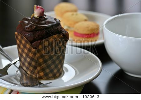 Cup Cake And Cookies For Afternoon Tea