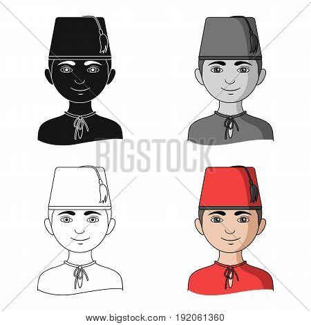 Turk..Human race single icon in cartoon style vector symbol stock illustration .