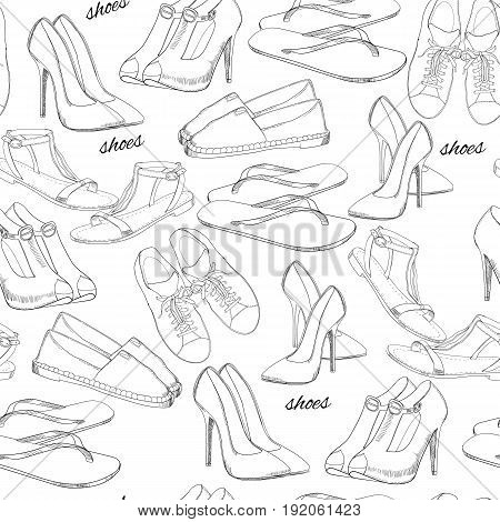 Vector illustration of hand drawn seamless pattern Women Footwear. Casual, classical and sport style, gumshoes for girl. Shoes for summer. Doodle, drawing wallpaper, wrapping paper, backdrop.