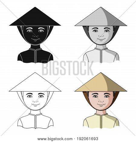 Vietnamese.Human race single icon in cartoon style vector symbol stock illustration .