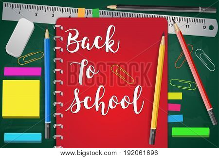 Back to School Title Words with Realistic School Items PencilsRubber and Ruler in green bord Texture Background. Vector Illustration