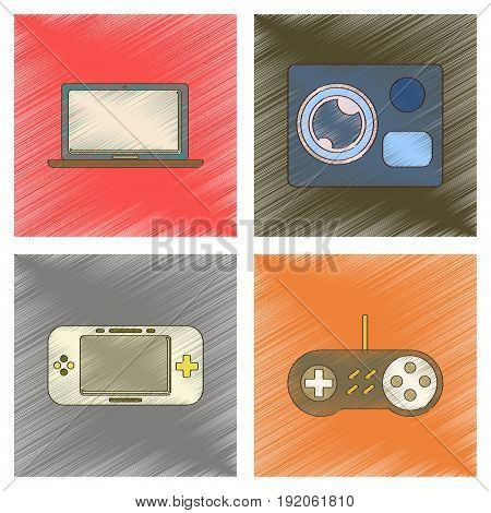 assembly flat shading style icon of computer game console camcorder laptop