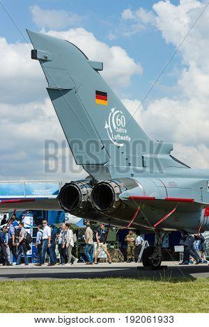 BERLIN GERMANY - JUNE 02 2016: Detail of multirole and strike aircraft Panavia Tornado IDS. German Air Force (Luftwaffe). Exhibition ILA Berlin Air Show 2016