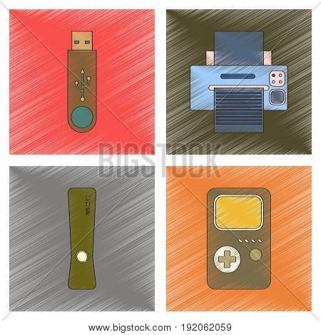 assembly flat shading style icon of technology game console flash drive Printer
