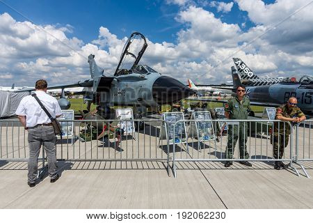 BERLIN GERMANY - JUNE 02 2016: Multirole strike aircraft Panavia Tornado IDS. German Air Force (Luftwaffe). Exhibition ILA Berlin Air Show 2016