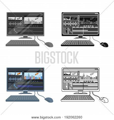 Computer with keyboard.Making movie single icon in cartoon style vector symbol stock illustration .