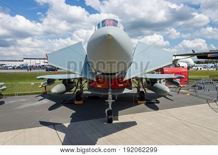 BERLIN GERMANY - JUNE 02 2016: Multirole fighter Eurofighter Typhoon. German Air Force (Luftwaffe). Exhibition ILA Berlin Air Show 2016