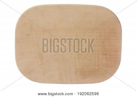 oval wooden plate isolated on white background