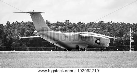 BERLIN GERMANY - JUNE 02 2016: Preparing for takeoff military transport aircraft Antonov An-178. Black and white. Exhibition ILA Berlin Air Show 2016