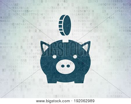 Money concept: Painted blue Money Box With Coin icon on Digital Data Paper background