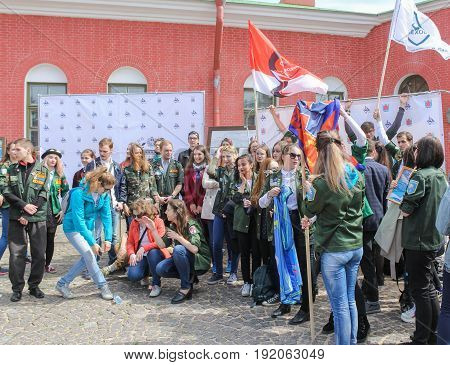 St. Petersburg Russia - 28 May, A group of students with flags,28 May, 2017. Famous sightseeing places of St. Petersburg for tourists.