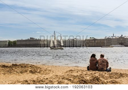 St. Petersburg Russia - 28 May, A couple on the bank of the Hare Island,28 May, 2017. Famous sightseeing places of St. Petersburg for tourists.