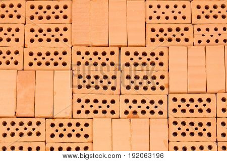 pattern with different red bricks on basement