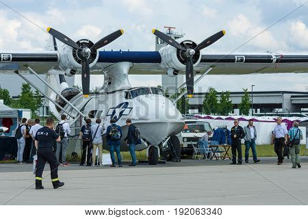 BERLIN GERMANY - JUNE 02 2016: Maritime patrol and search-and-rescue seaplane Consolidated PBY Catalina (PBY-5A). Exhibition ILA Berlin Air Show 2016