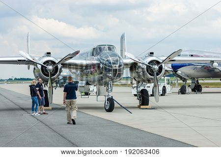 BERLIN GERMANY - JUNE 02 2016: The American twin-engine medium bomber North American B-25J Mitchell. The Flying Bulls Team. Exhibition ILA Berlin Air Show 2016