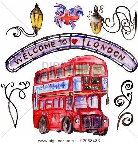 Watercolor London illustration. Great Britain hand drawn symbols. British bus. Aquarelle elements for background, texture, wrapper pattern.