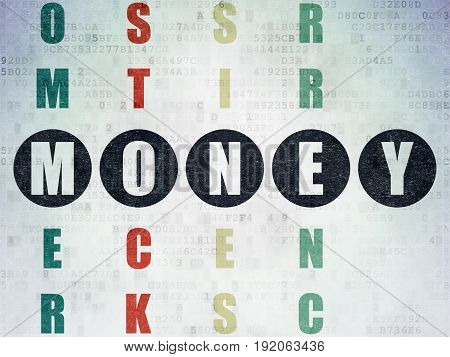 Money concept: Painted black word Money in solving Crossword Puzzle on Digital Data Paper background
