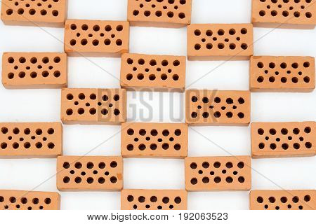 grid pattern with red bricks on white background