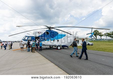BERLIN GERMANY - JUNE 02 2016: Transport helicopter Mil Mi-8MSB. Armed Forces of Ukraine. Exhibition ILA Berlin Air Show 2016