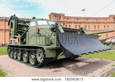 St. Petersburg Russia - 28 May, The pierced military machine MDK-2,28 May, 2017. Military History Museum of combat equipment in St. Petersburg.