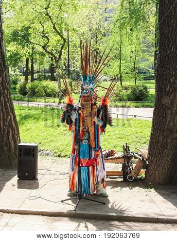 St. Petersburg Russia - 28 May, Performance of a Peruvian artist in a national costume,28 May, 2017. People at an entertainment event in a city park.