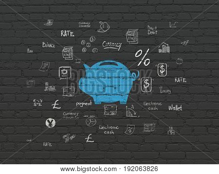 Money concept: Painted blue Money Box icon on Black Brick wall background with  Hand Drawn Finance Icons