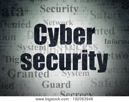 Protection concept: Painted black text Cyber Security on Digital Data Paper background with   Tag Cloud