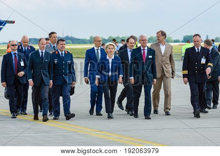BERLIN GERMANY - JUNI 02 2016: Arrival of the Federal Minister of Defence of Germany Ursula von der Leyen at the exhibition ILA Berlin Air Show 2016