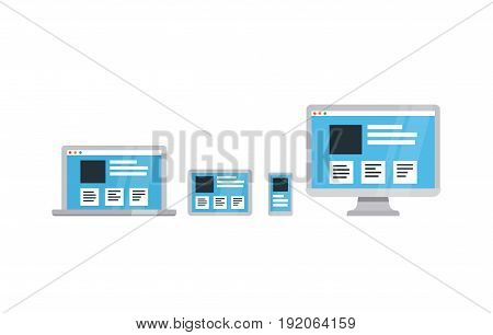 Responsive web design on digital tablet, desktop, laptop and smartphone. Flat vector illustration.