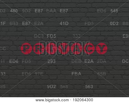 Security concept: Painted red text Privacy on Black Brick wall background with Hexadecimal Code
