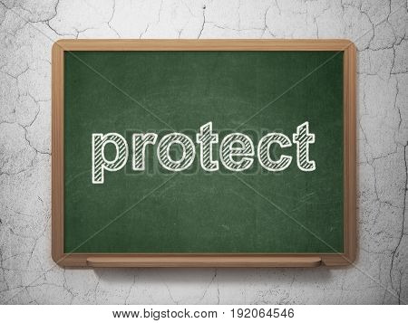 Privacy concept: text Protect on Green chalkboard on grunge wall background, 3D rendering