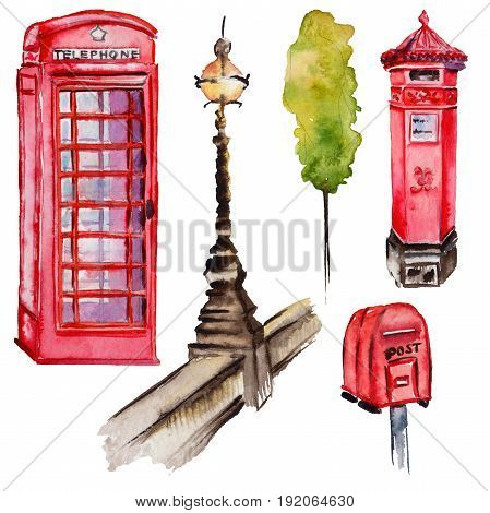 Watercolor London illustration. Great Britain hand drawn symbols.British phone. Aquarelle elements for background, texture, wrapper pattern.