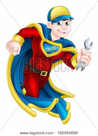 Cartoon mechanic or plumber superhero mascot holding a spanner or wrench poster