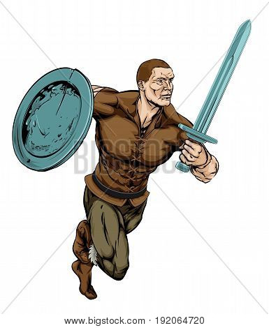 An illustration of a tough looking Warrior running with sword and shield