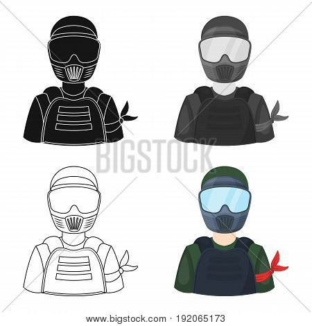 A player in paintball.Paintball single icon in cartoon style vector symbol stock illustration .