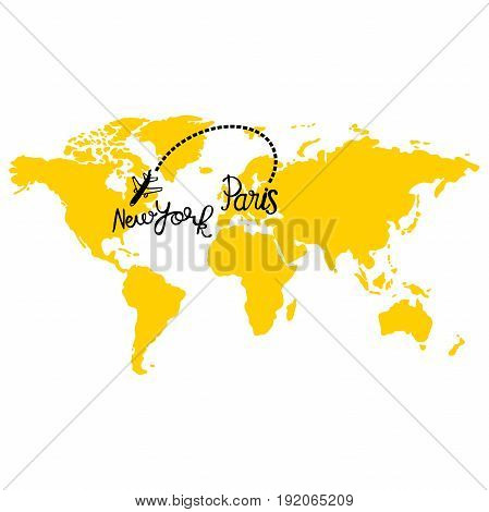 Yellow map of world. Aircraft. Paris and New York. Isolated vector object on white background.
