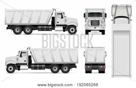Vector dump truck template for car branding and advertising. Tipper truck set on white background. All layers and groups well organized for easy editing and recolor. View from side front back top.