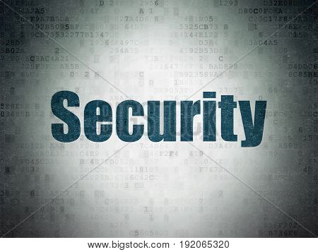 Privacy concept: Painted blue word Security on Digital Data Paper background