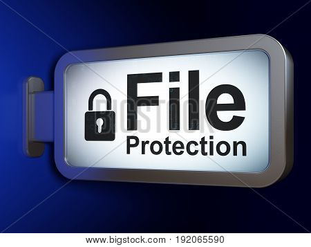 Privacy concept: File Protection and Closed Padlock on advertising billboard background, 3D rendering