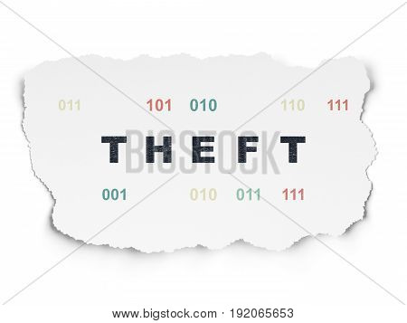 Security concept: Painted black text Theft on Torn Paper background with  Binary Code