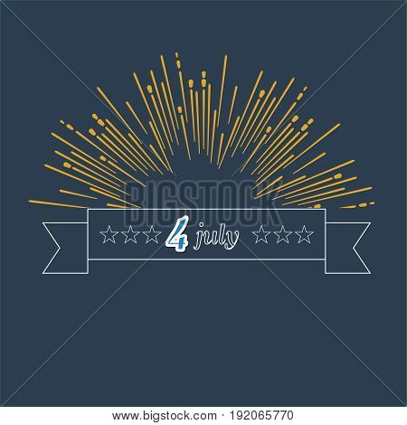 4 july concept trendy line style ribbon and star shining. Illustrated vector