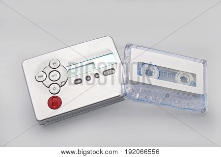 Cassette Player with Tape Isolated on Gray Background