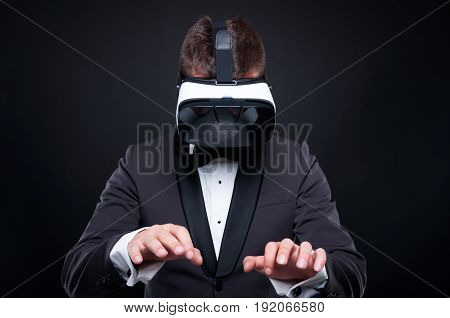 Exclusive Man Using Virtual Reality Headset