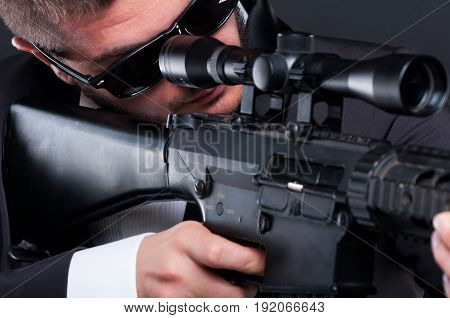 Close-up View Of Gangster With Dangerous Weapon
